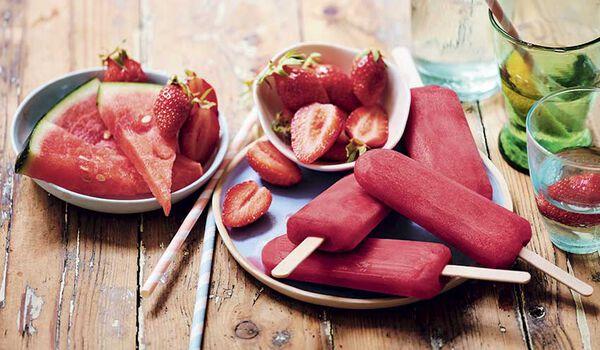 5 bâtonnets fraise-pastèque, sorbet plein fruit