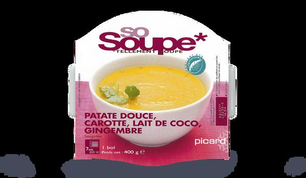 Soupe patate douce, carotte, lait coco, gingembre