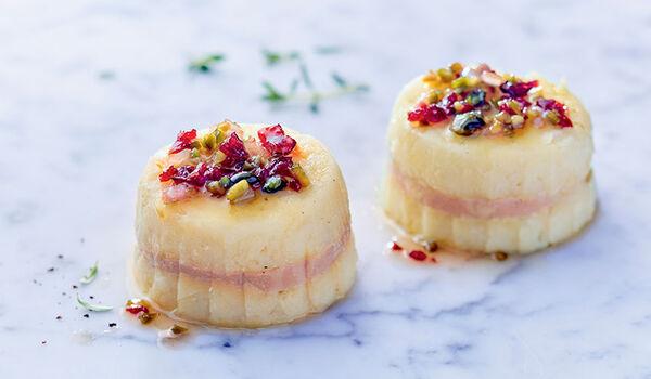 2 chaud-froid pomme de terre au bloc de foie gras