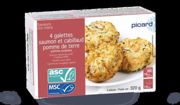 4 galettes saumon ASC, cabillaud MSC