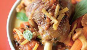 Souris d'agneau au miel, basilic et gingembre