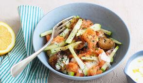 Salade de pomme de terre et saumon mariné aux échalotes