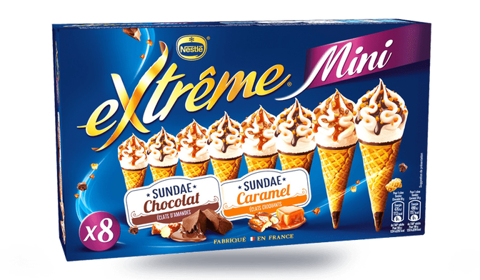 8 mini-cônes Extrême sundae caramel et sundae chocolat