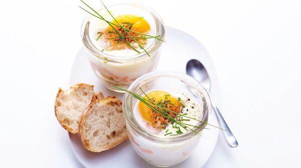 Œufs cocotte au saumon et haricots beurre