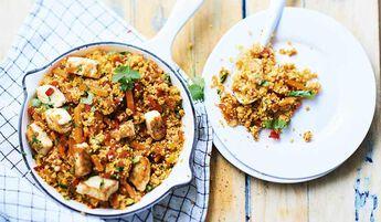 Semoule au poulet et aux petits légumes