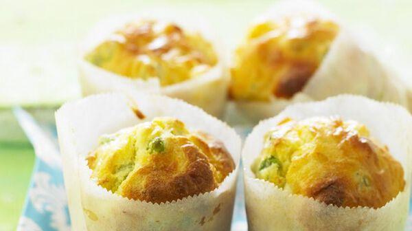 Muffins de petits pois au chèvre et citron
