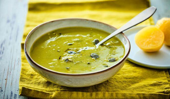 Soupe courgette, pois cassé, citron confit