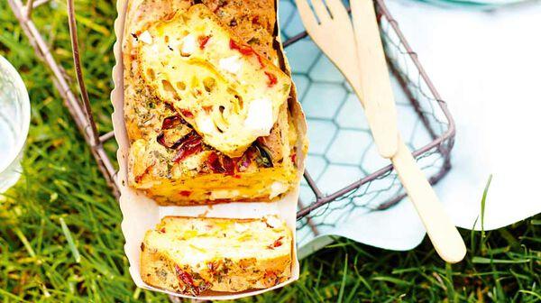 Cake poivron - feta - chorizo