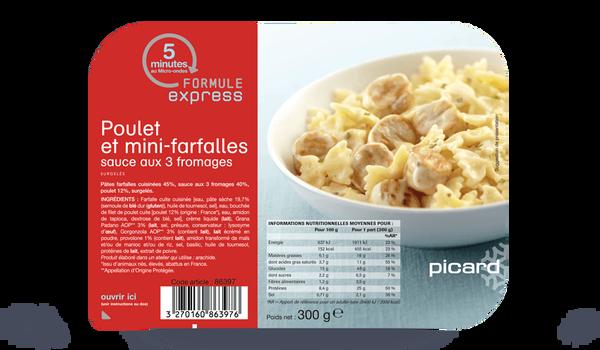 Poulet et mini-farfalles sauce aux 3 fromages