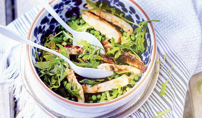 Salade de poulet et petits pois à la menthe