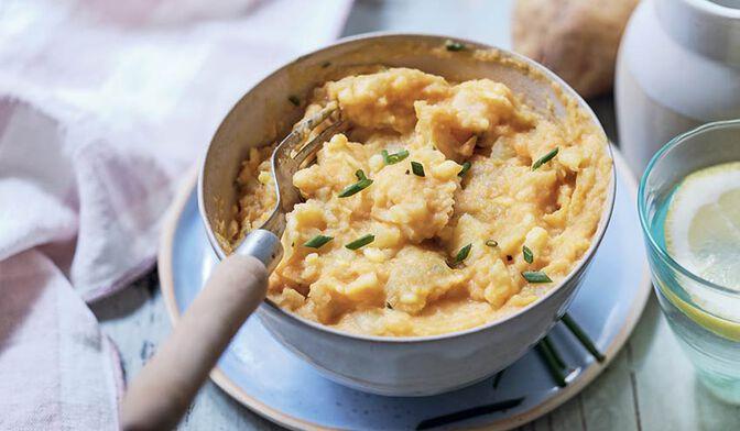 Ecrasé de pomme de terre et patate douce à la ciboulette