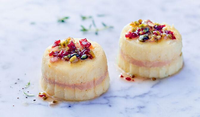2 chaud-froid de pomme de terre au bloc de foie gras de canard
