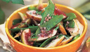 Salade de poulet aux figues et aux pois gourmands