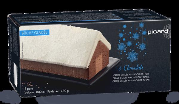 Bûche glacée 3 chocolats, 8 parts