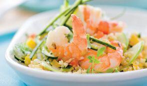 Salade de quinoa, crevettes et pommes vertes