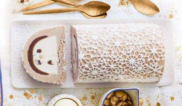 Bûche glacée marron-vanille, 8 parts