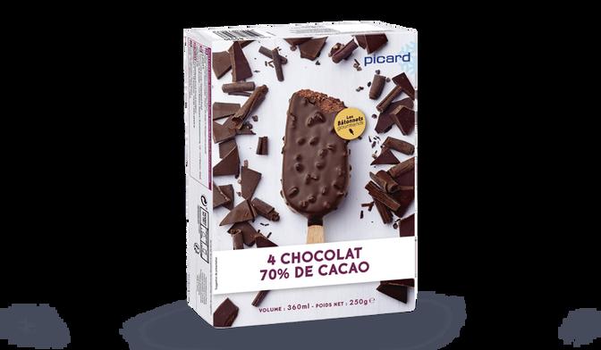 4 bâtonnets chocolat 70 % de cacao-fèves de cacao