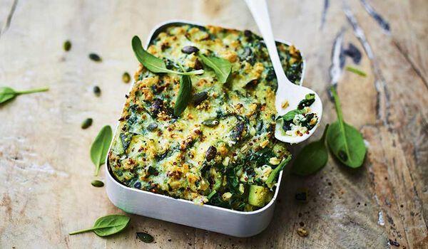 Gratin de légumes verts, céréales,sauce mascarpone