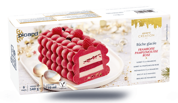 Bûche glacée framboise-pamplemousse rose, 8 parts