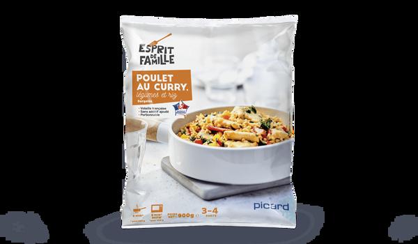 Poulet au curry, légumes et riz
