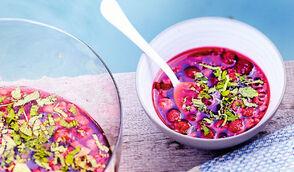 Soupe de fruits rouges et melon glacés au vin rosé