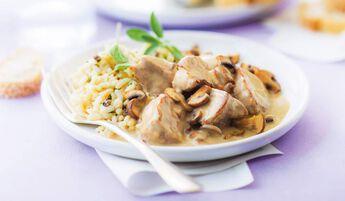 Veau, risotto et sauce aux champignons