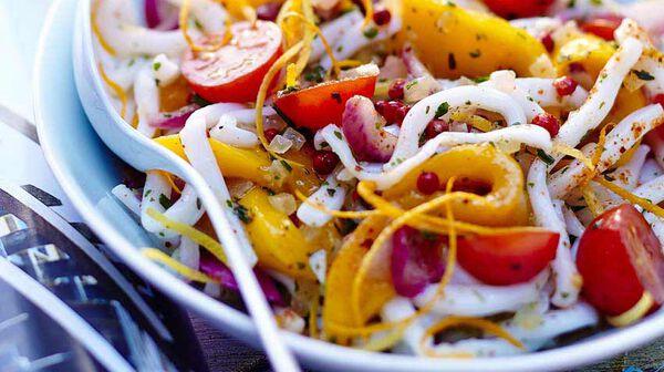 Salade de calmar et mangue