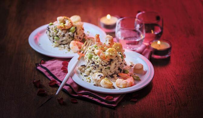 Duo box à cuisiner duo de crevettes et Saint-Jacques*, risotto au Chablis