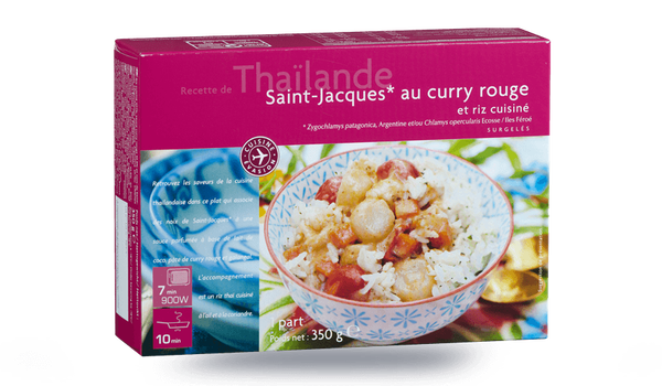 Saint-Jacques au curry rouge et riz cuisiné