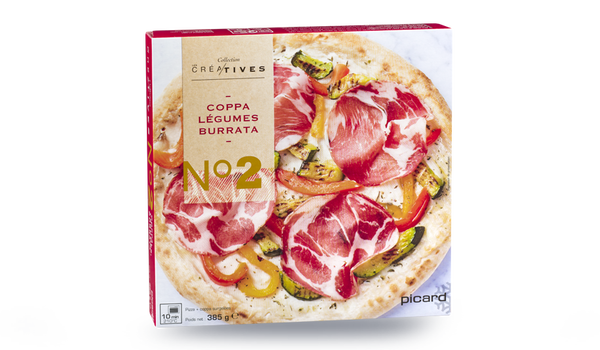 Pizza coppa, légumes, burrata