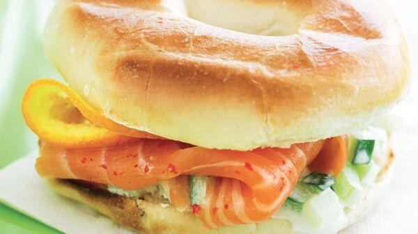 Bagels et saumon fumé à l'orange