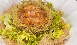 Kadaif de langoustines et bisque maison par Yoni Saada