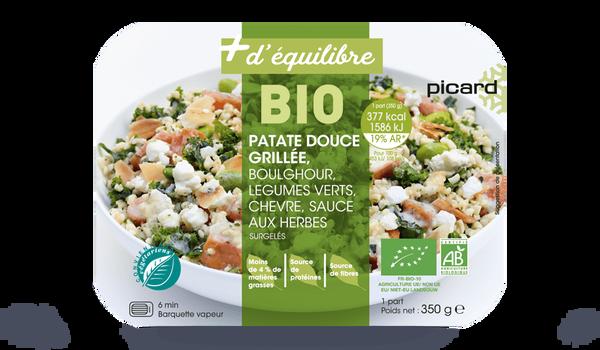 Patate douce grillée, boulghour, légumes verts,bio