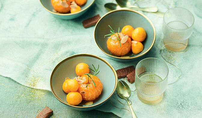 Clémentines rôties et sorbet mangue-passion