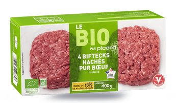 4 biftecks hachés bio, pur boeuf, 15% M.G maximum