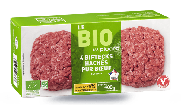 4 biftecks hachés bio, pur boeuf, 15% M.G maximum