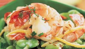 Salade de fèves et crevettes à la menthe