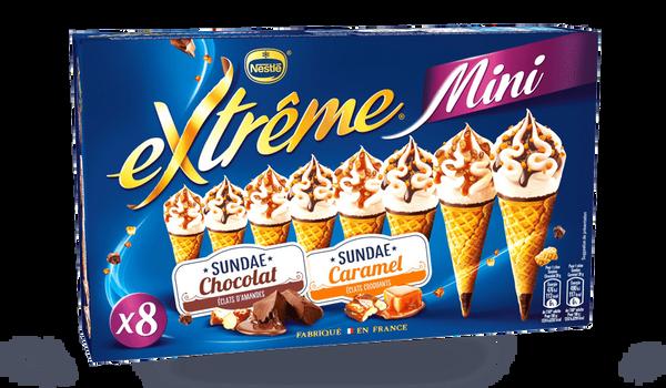 8 mini-cônes Extrême sundae caramel et chocolat