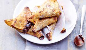 Samossas de crêpes banane-chocolat