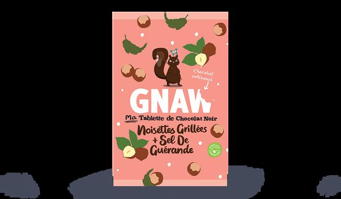 Tablette de chocolat noir, noisettes grillées et sel de Guérande