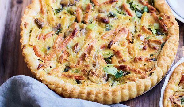 Préparation pour tarte aux légumes du potager