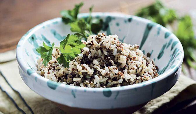 Riz complet, lentilles vertes, quinoa rouge