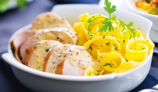 Filet mignon de porc sce à la moutarde,tagliatelle