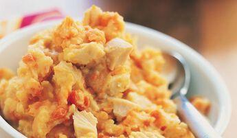 Purée de pommes de terre au poulet et aux carottes