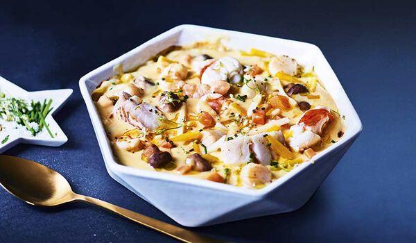 Langouste, crevettes, cabillaud, et Saint-Jacques