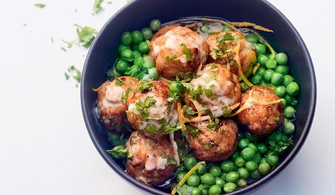 Boulette veau-thon-câpres, sauce crémeuse au citron