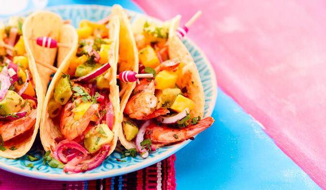 Tacos crevettes-mangue-avocat