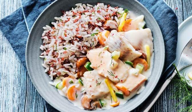 Marmite de la mer et duo de riz cuisiné