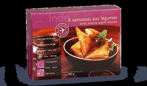 6 samossas aux légumes avec sauce aigre-douce