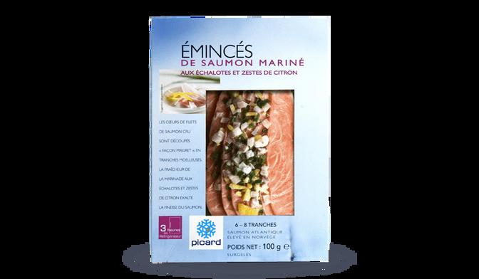 Emincés de saumon mariné aux échalotes et zestes de citron